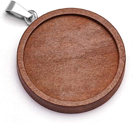 Diy Craft Necklace Jewelry Making Cameo Round Pendant Base Wooden Cabochon Tray