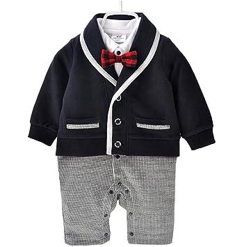 4361b6b568e5eb Emfay ベビー ロンパース 赤ちゃん 子供服 男の子 フォーマル スーツ カバーオール 新生児 男児 出産祝い コン 80cm