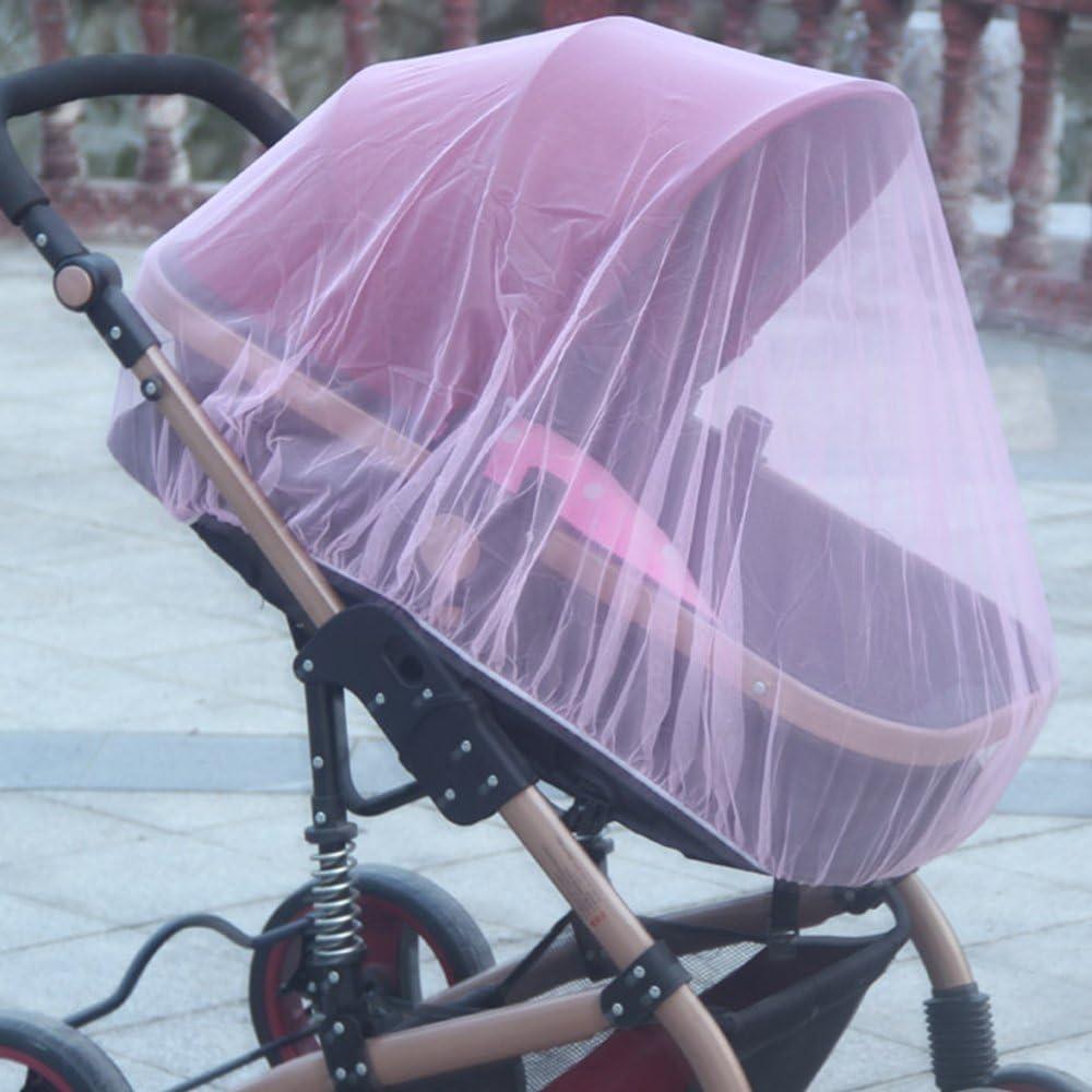 poussette Protection anti-insectes anti moustiques nacelle Moustiquaire universelle pour pour landau couffin Rose Grande Taille cosy et lit parapluie de toutes marques pour bebe enfant