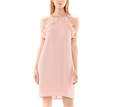 Fandao nude dress summer 2017 waterfall ruffles full lining party casual pink dresses for girls women