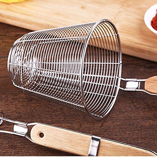 XH Stainless Steel Strainer Basket with Long Handle, Frying Food Noodles Dumpling Fondue Mesh Basket (L) by XHHOME (Image #1)