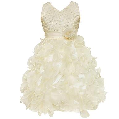 9b5d48d8f54e YiZYiF Mädchen Kleid Perlen Blumenmädchen Kleider Hochzeit Partykleid  festlich Kleid Festzug Gr. 98 104 110 116 128 134 140