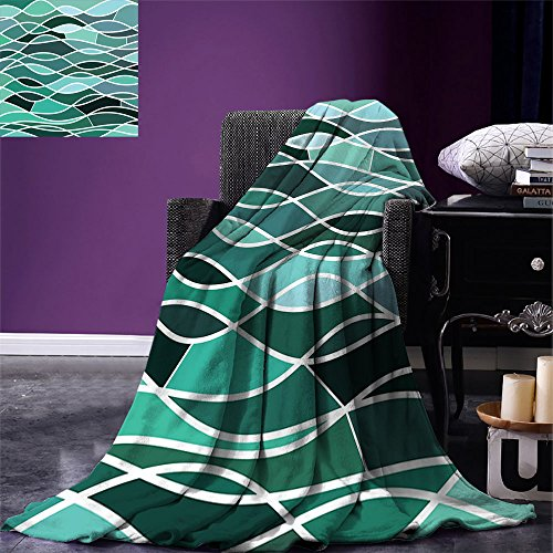 Super Foam Mosaic - smallbeefly Seafoam Super Soft Lightweight Blanket Stained Glass Pattern with Wavy Lines and Mosaic Abstract Geometric Composition Oversized Travel Throw Cover Blanket Multicolor