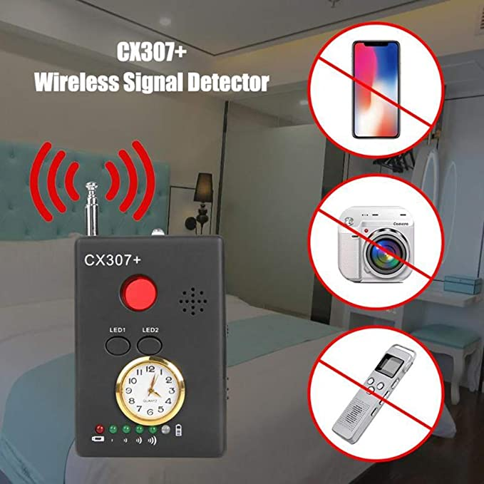 ZQYR CAMERA# Detector De Señal Inalámbrico para Dispositivo De Escucha Radar Escáner De Radio Alarma De Señal Inalámbrica,Rango De Frecuencia De Recepción: ...