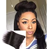Choshim Hair Light Yaki Free Part Lace Frontal Ear to Ear 13x4 Pre Plucked Hairline with Baby Hair Brazilian Virgin Hair 12 inches Frontal Closure