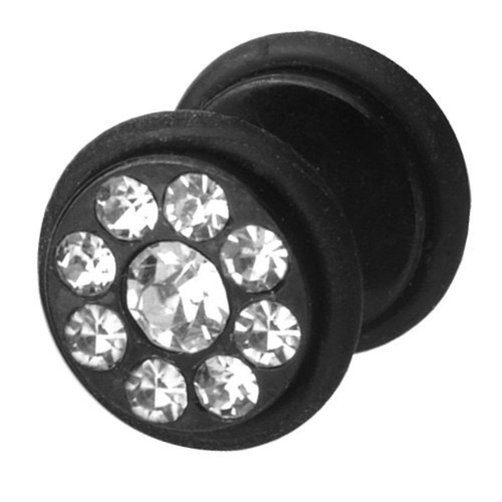 Dilatador Falso Piercing Funky Plug, Pendiente, Piedras Blancas: Amazon.es: Joyería