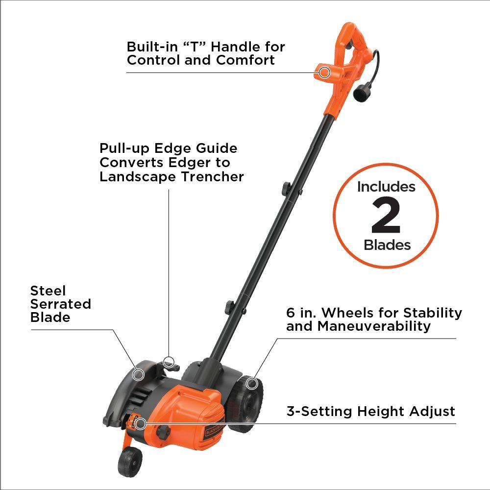 BLACK+DECKER LE760FFAM Landscape Edger, Black/Orange