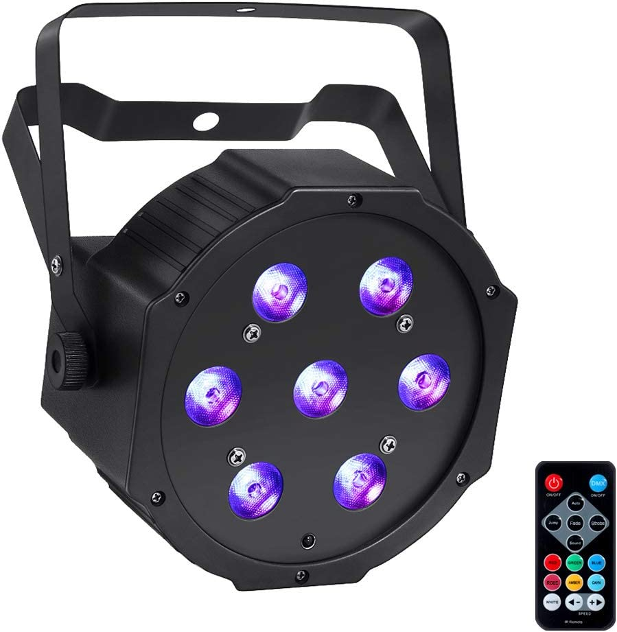 LED Stage Lights, YeeSite 70W 7LEDs RGBW 4 in 1 LED Par Sound Activated by Remote and DMX Control Uplights for Wedding DJ Party Stage Lighting