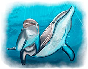 """7Dots Art. Mom and baby. Watercolor Art Print, poster 8""""x10"""" on Fine Art thick Watercolor paper for childrens kids room, bedroom, bathroom. Wall art decor with Animals for boys, girls. (Dolphins)"""