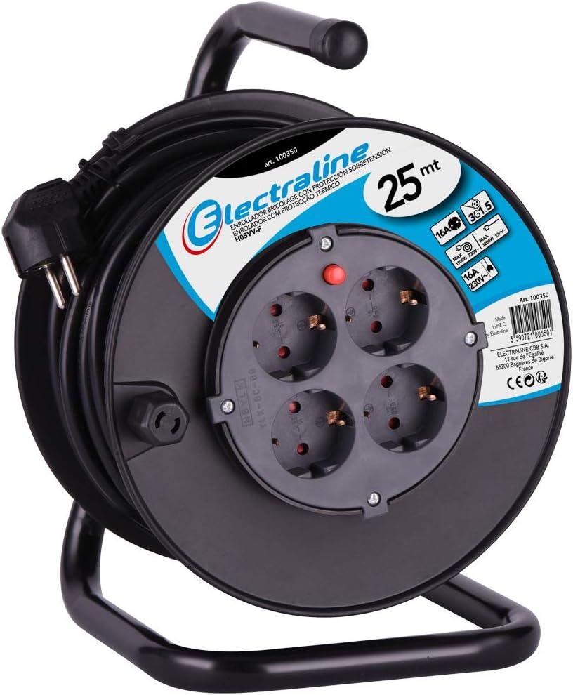 Pletina fija Electraline 49213 Allargador de cables con Enrollacables Professional 15 MT y con proyector LED de 10W Negro 4 Tomas Schuko Secci/òn 3G1,5 mm/² 15 m