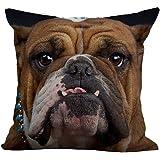 HomeTaste Bulldog Face Decorative Cotton Linen Blend Throw Pillow Cover 18x18
