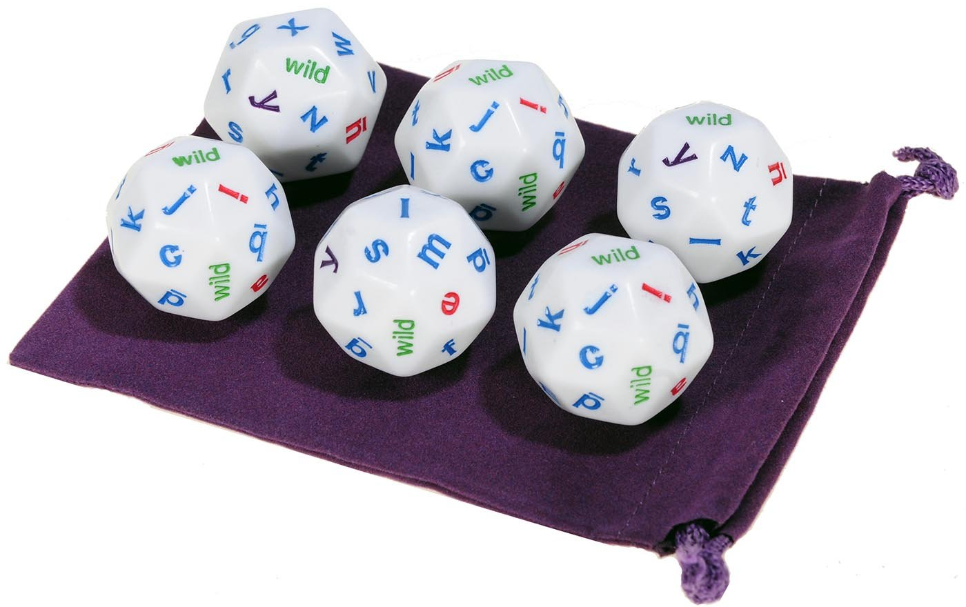 Alphabet Jumbo Dice, 30-Sided _ Set of 6 Identical Dice _ Bonus Purple Velveteen Drawstring Storage Pouch _ Bundled Items by Deluxe Games and Puzzles