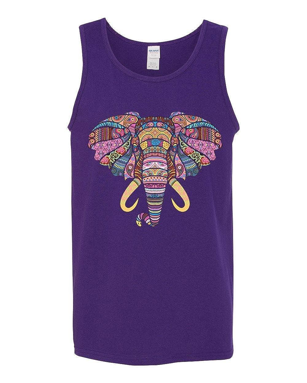Wild Bobby Colorful Mandala Elephant Mens Fashion Graphic Tank Top