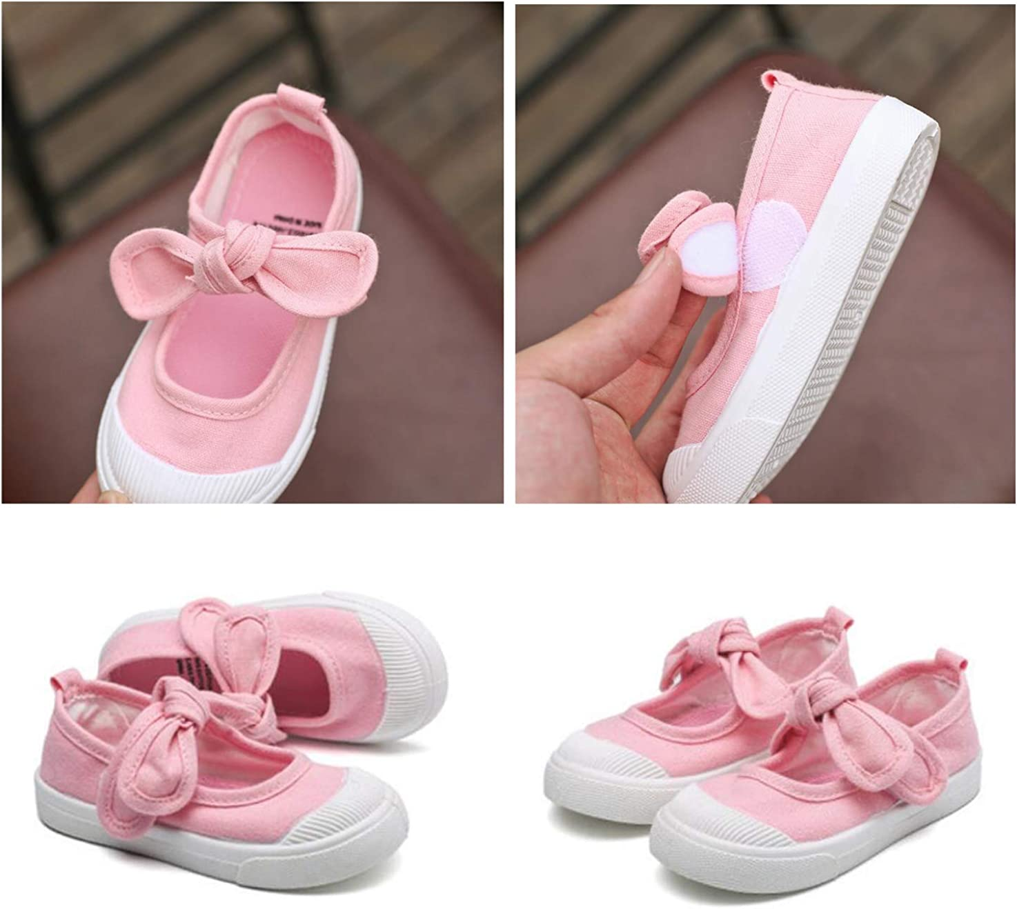 DEBAIJIA Girls School Canvas Sneakers Bowknot Flats Shoes for Toddler//Little Kid Anti-Slip Magic Tape Toddler Shoes Suitable for 1-12 Years Girls