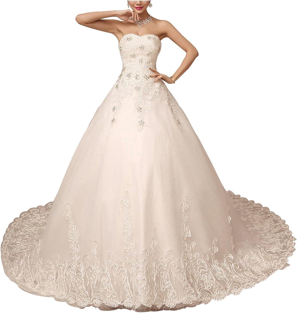 Lactraum HS 15 Brautkleid Hochzeitskleid mit Schleppe Strassstein Spitze
