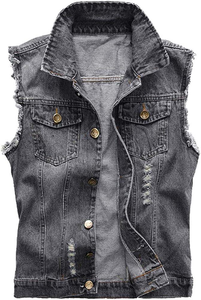 Taoliyuan Mens Denim Vest Jacket Distressed Slim Fit Sleeveless Laper Collar Button Down Trucker Jean Jacket