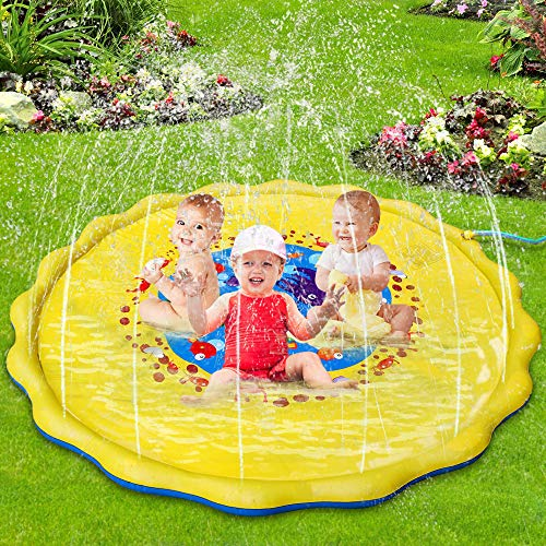 Lzellah Splash Play Mat & Sprinkler for Kids 68 Splash Pad Outdoor Water Toys Fun for 2 3 4 5 Year Old Boys Girls Toddlers Children Summer Gift Outside Kids Toys