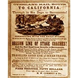 Quality digital print of a vintage photograph - Oregon Line to California Advertisement, 1866.. Sepia Tone 11x14 inches - Matte Finish