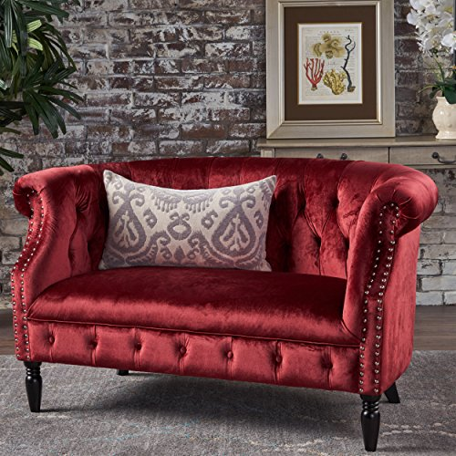 Great Deal Furniture 302214 Melaina Garnet Tufted Rolled Arm Velvet Chesterfield Loveseat Couch