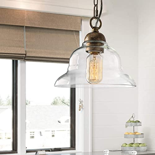 LALUZ Pendant Lighting for Kitchen Island, 1-Light Antique Brass Hanging Light Fixture, Champagne Finish Clear Glass Shade for Dining Room or Bedroom A03229