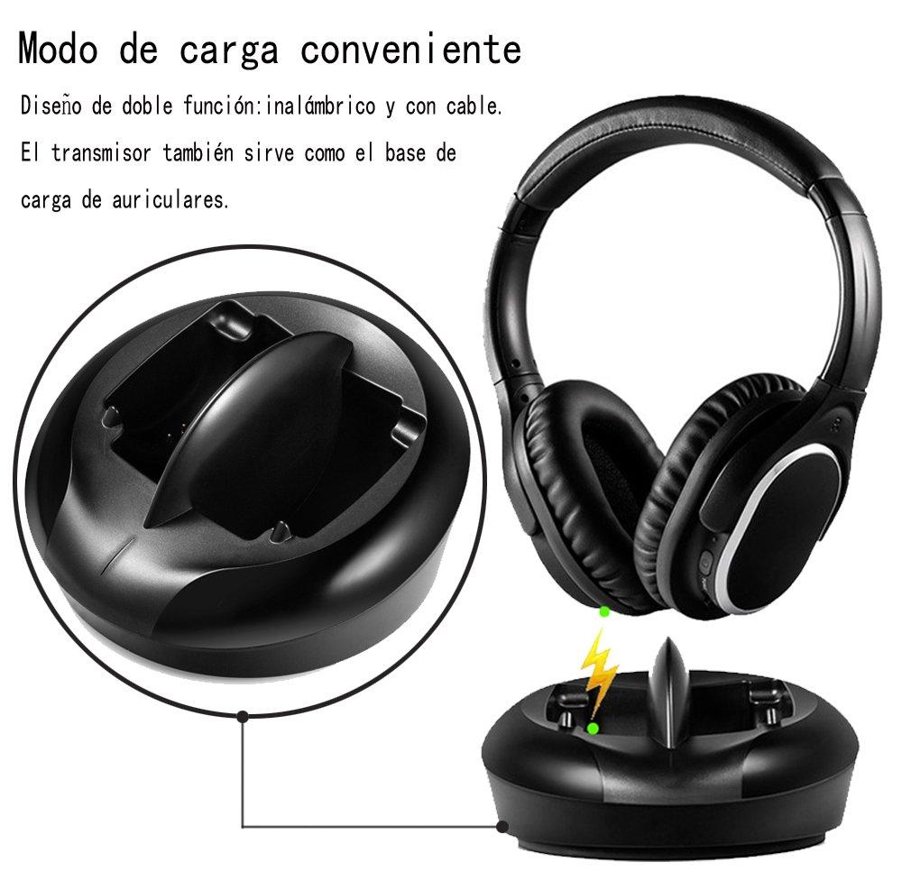 Auriculares Inalámbricos RF TV Auriculares de Radio 2.4GHz UHF Hifi Transmisor Claro Sonido Estereofónico con Base de Carga para TV MP3 iPods Ordenador ...