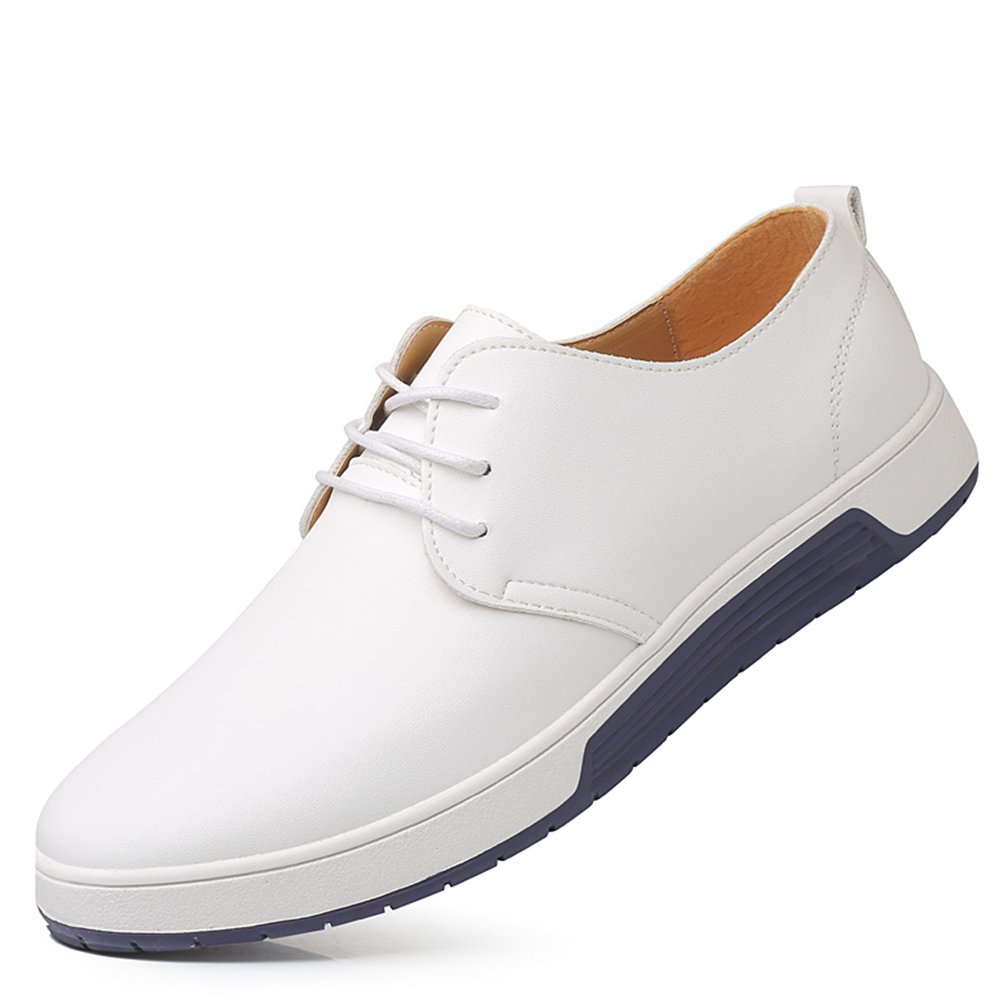 KONHILL Men's Casual Oxford Shoes Breathable Flat Fashion Lace-up Dress Shoes, White,39