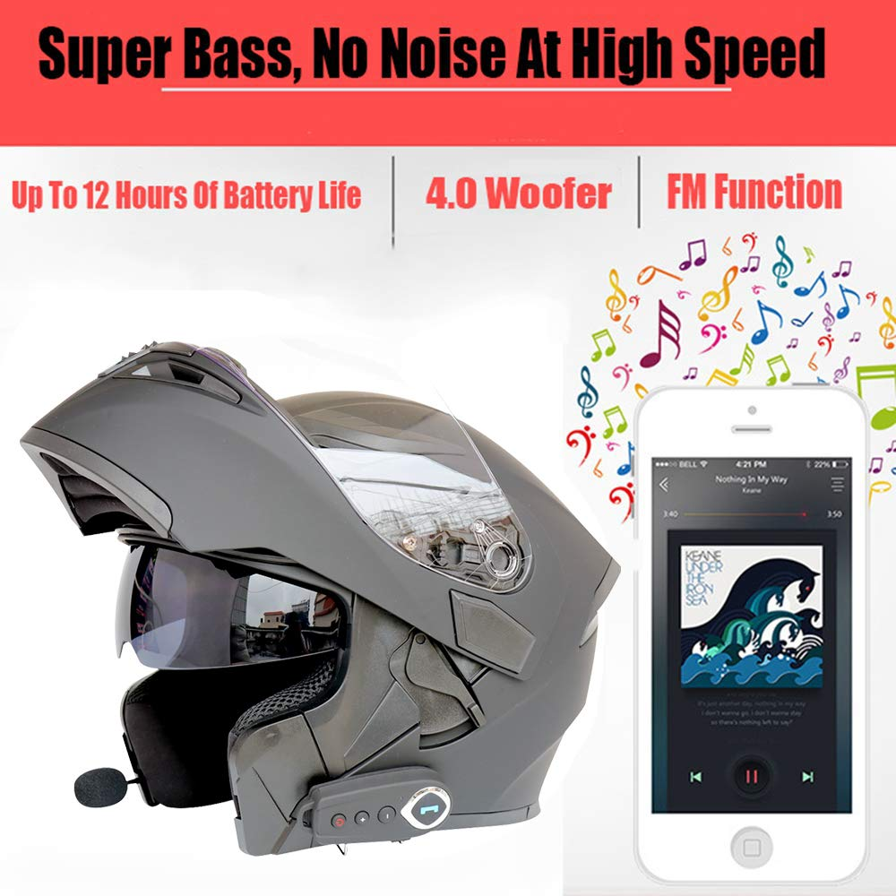 WLJBY Motorcycle Bluetooth Helmets Modular Music Smart Helmet Automatic Answering Built-In Dual-Speaker Headset With Microphone DOT Certification FM Double Mirror Anti-Fog ,M Black