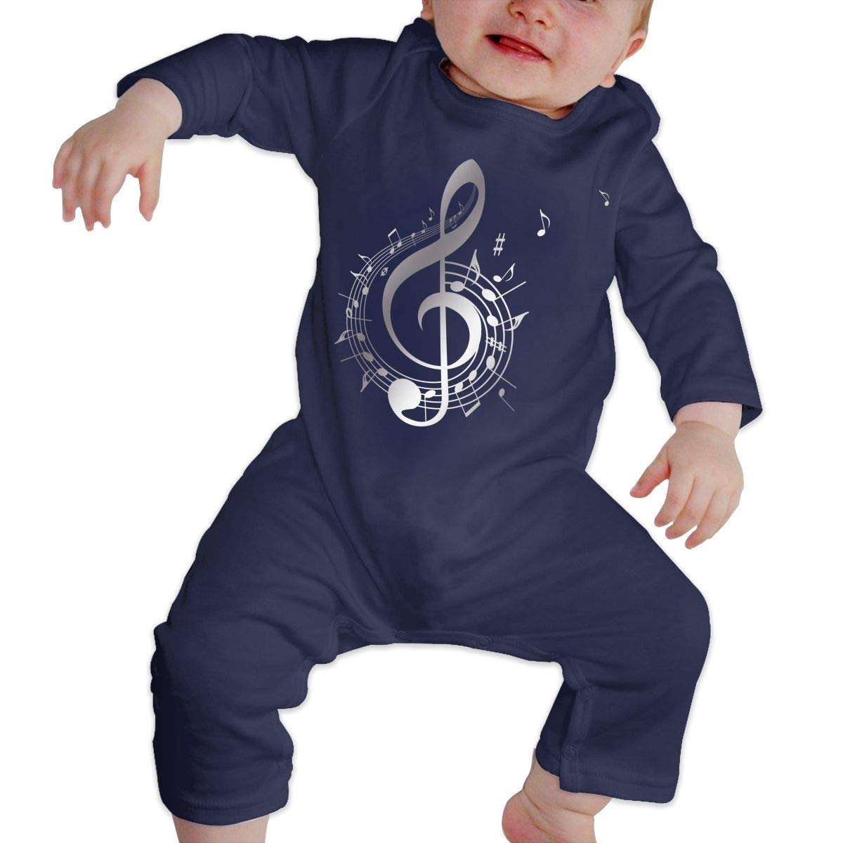 Music Melody Note Unisex Long Sleeve Baby Gown Baby Bodysuit Unionsuit Footed Pajamas Romper Jumpsuit