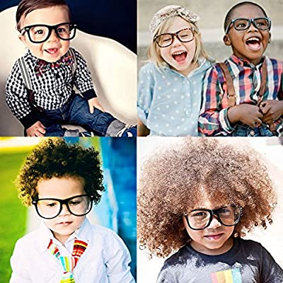 KIDS Childrens Nerd Retro Oversize Black Frame Clear Lens, Black, Size One Size: Clothing
