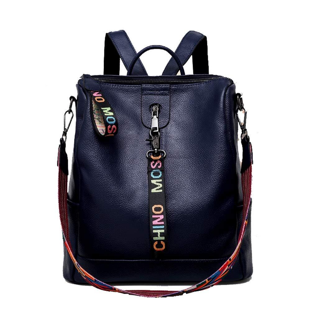 女性のバックパック、ファッション革多機能ショルダーバッグワイドショルダーストラップショルダーバッグハンドバッグ第一層革旅行レジャー作 B07S2RKDKB blue
