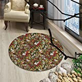 Casino Decorations small round rug Carpet Doodles Style Art Bingo Excitement Checkers King Tambourine VegasOriental Floor and Carpets