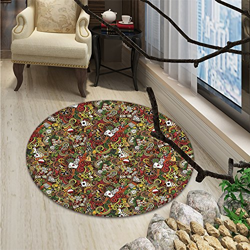 Casino Decorations Round Area Rug Carpet Doodles Style Art Bingo Excitement Checkers King Tambourine VegasOriental Floor and Carpets by smallbeefly