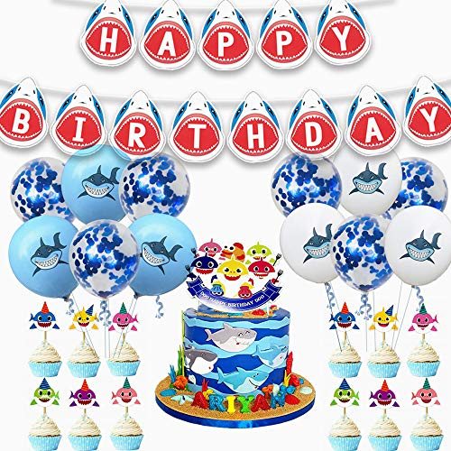 38 Pieces Shark Birthday Party Supplies,Shark Baby Party Decorations Set, Ocean Party Supplies,Shark Birthday Party Banner Cake Topper Balloons,Children Carnival Party Supplies Decorations - Party Hat Cake Pan