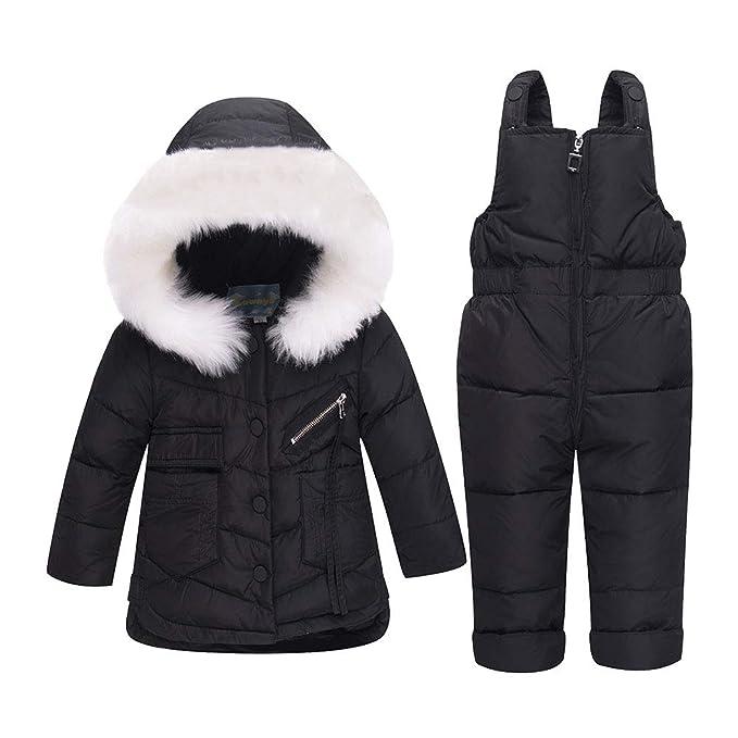 JINZFJG Chaquetas de Esquí para Niños Conjunto 2 Piezas Abrigo con Capucha + Pantalones de Nieve Traje de Invierno, Negro, Talla100/altura:95-105cm: ...