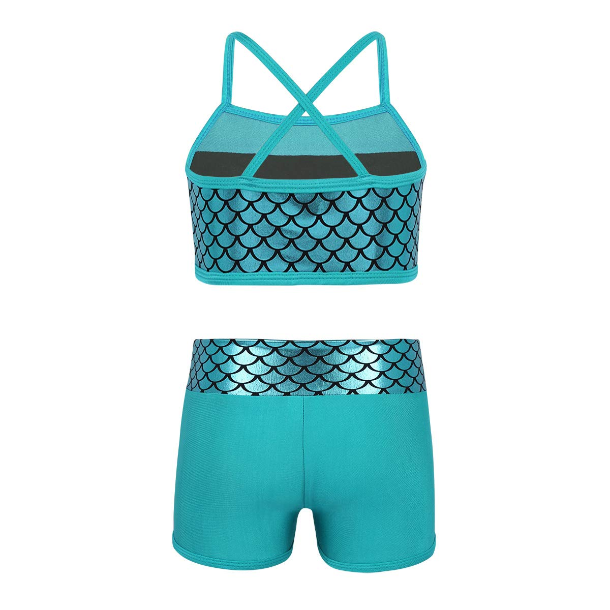 a25fa2360dc TiaoBug Kids Girls Sequins Mermaid Tank Top with Shorts Dance Outfit  Gymnastics Dancing Costume Swimwear
