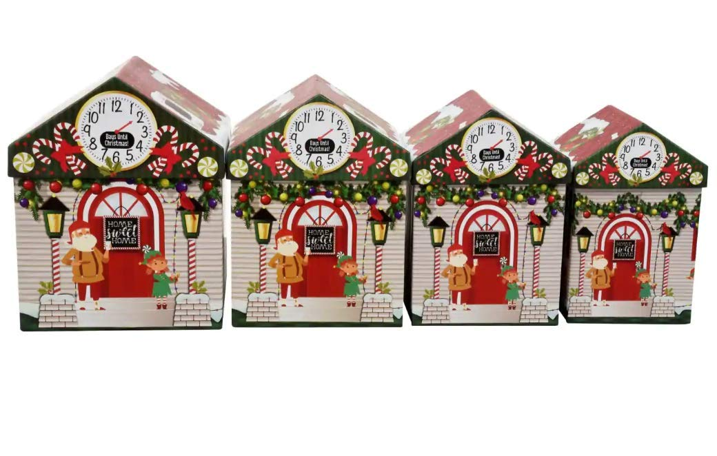 Amazon.com: Set of 4 Christmas Holiday House-Shaped Nested Gift Boxes with Lids: Home & Kitchen