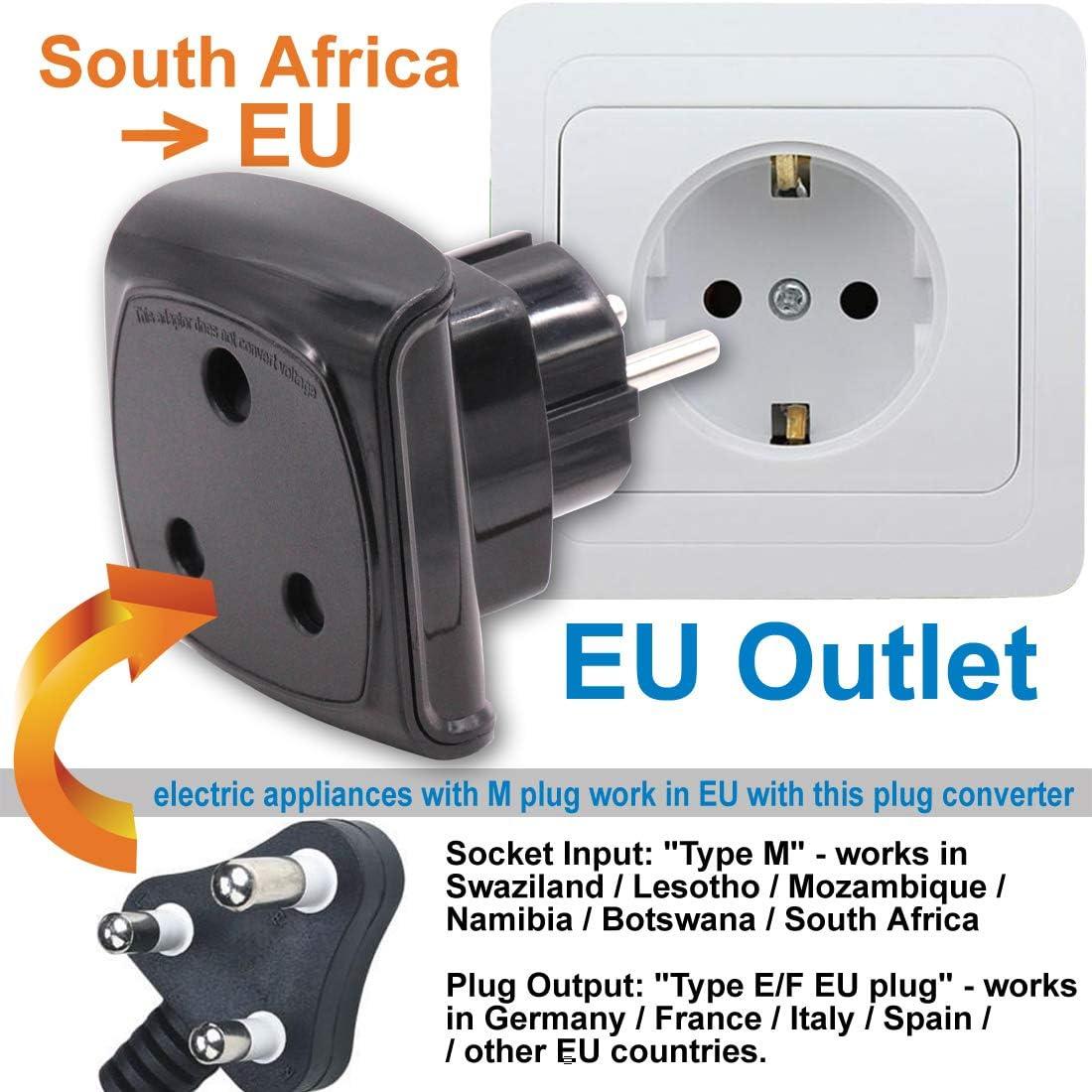 Adaptador de Enchufe de Sudáfrica Tipo M de 3 Clavijas Grande a 2 Clavijas UE/Alemania/Francia/España/Italia con Obturador de Seguridad (1 Pieza Negro): Amazon.es: Electrónica