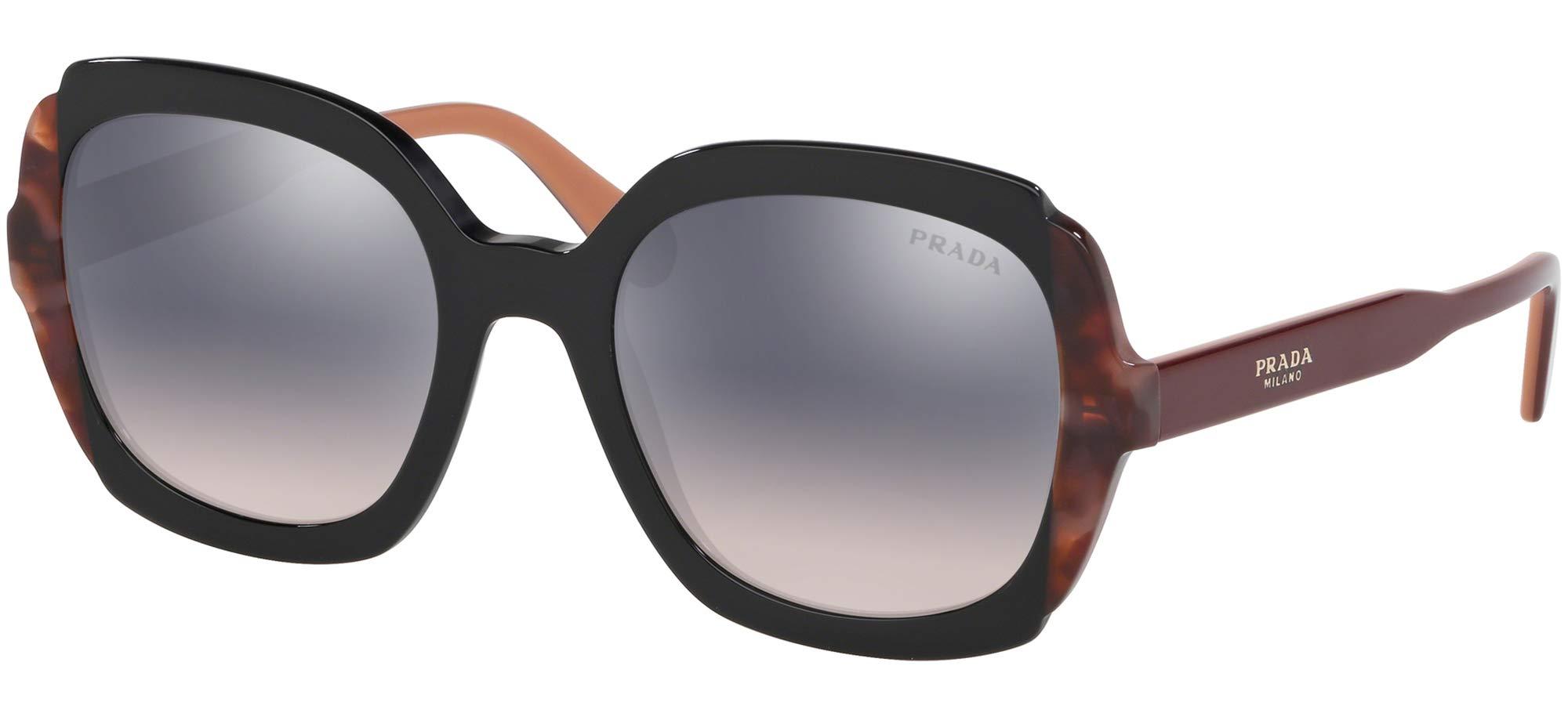 Prada Women's PR 16US Square Sunglasses, Black/Pink Havana, One Size by Prada