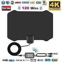 Antenne TV Intérieur Puissante TNT HD, leegoal 120 milles intérieur HDTV antennes avec Puissant amplificateur et 13,2 ft câble coaxial Soutien 4k HD VHF UHF pour Les chaînes locales de Vie diffusées