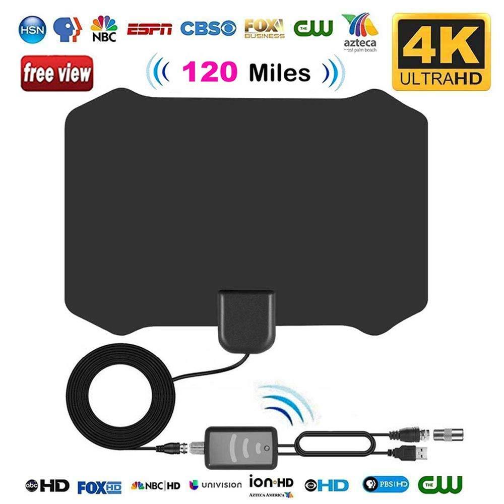 Antenas de TV Interior, leegoal Antenas de HDTV de Largo Alcance de 120 Millas con Amplificador señal Booster y 13,2 ft Cable coaxial Soporte 4k HD VHF UHF TDT para Canales Locales Vida difusión
