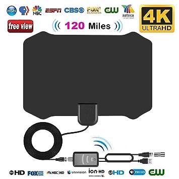 Antenas de TV Interior, leegoal Antenas de HDTV de Largo Alcance de 120 Millas con Amplificador señal Booster y 13,2 ft Cable coaxial Soporte 4k HD ...