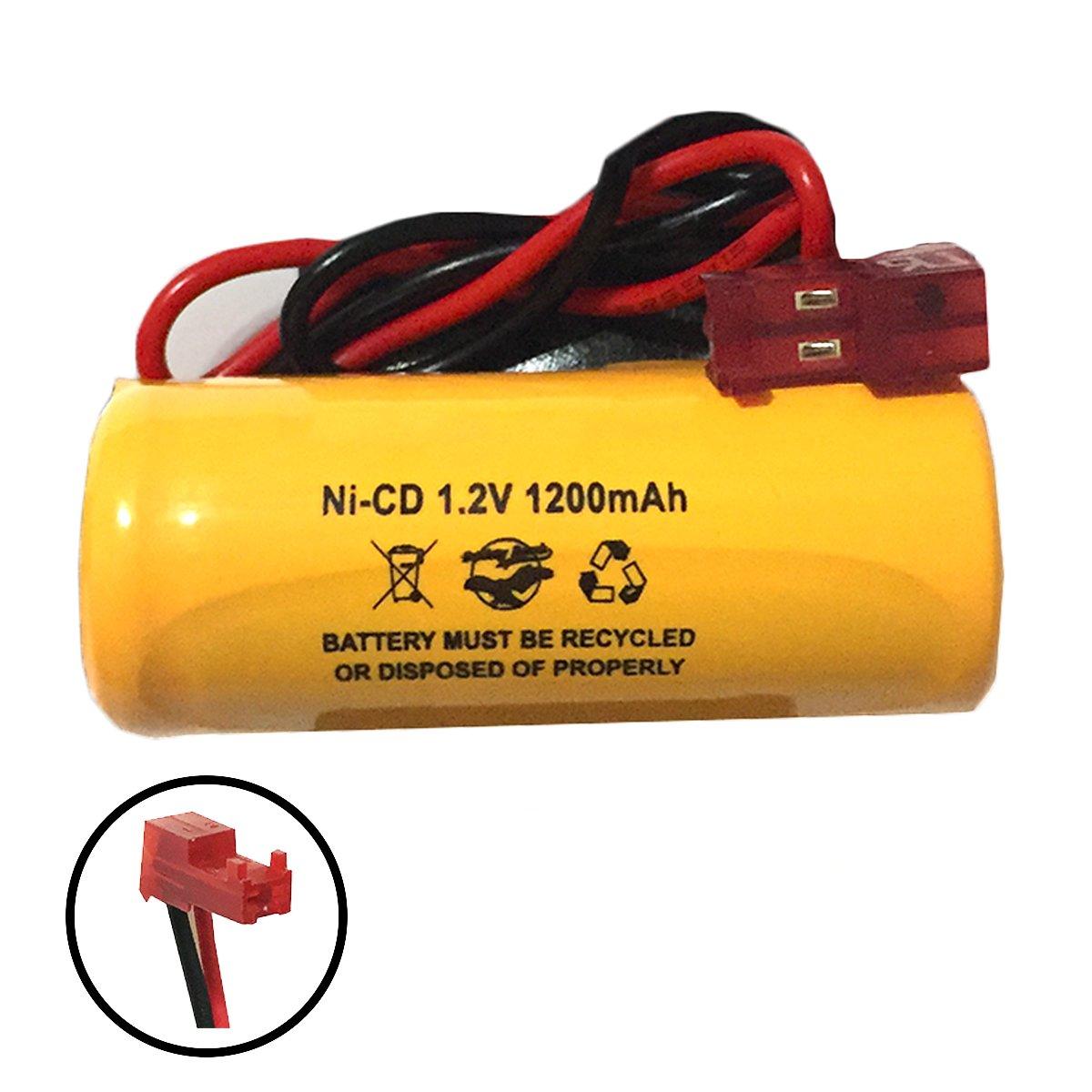 1.2V 1000mAh Exit Sign Battery Lithonia elb1p201n2 ELB1P2901N ELB1P201NLQMSW3R12277ELW NiCd Nickel Cadmium Emergency Light 1200mAh 1400mah 1ah 1.2ah red connector (10 Pack) by Battery Hawk (Image #2)