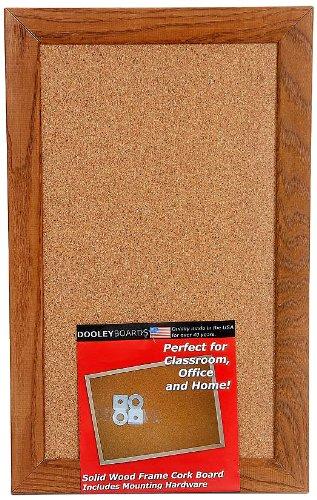 Dooley Deluxe Oak Framed Cork Board, 11 x 17 Inches (1117CODE) Dooley Boards