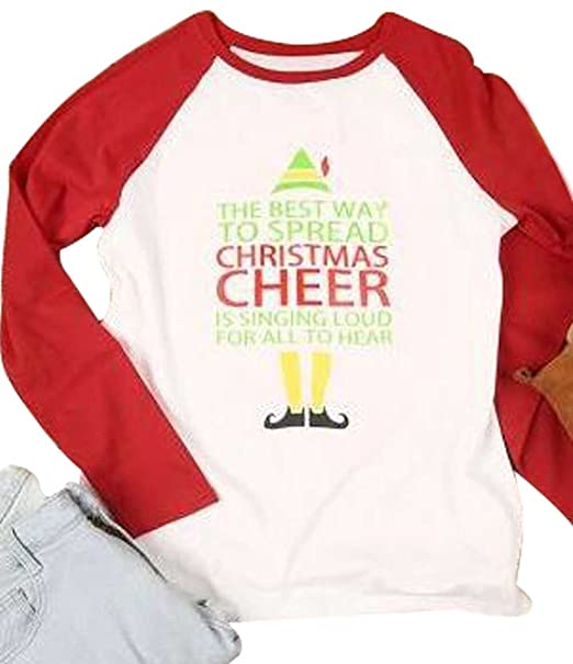egelexy women the best way to spread christmas cheer print long sleeve splicing t shirt