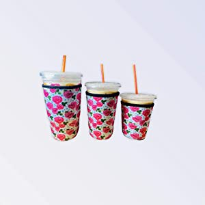 Reusable Iced Coffee Cup Insulator Sleeve Set of 3 Sizes for Cold Beverages and Neoprene Holder for Starbucks Coffee, McDonalds, Dunkin Donuts, More (Pink Floral)