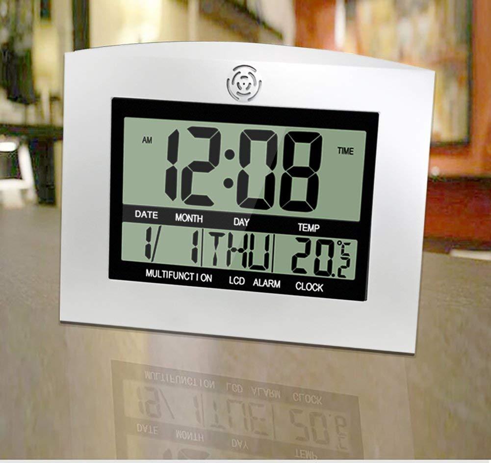 HeQiao Digital Wall Clocks Stylish Silent Desk Clock Easy-Read Large LCD Alarm Clock w//Calendar Temperature for Home Office 2 Alarms, Silver w//Black