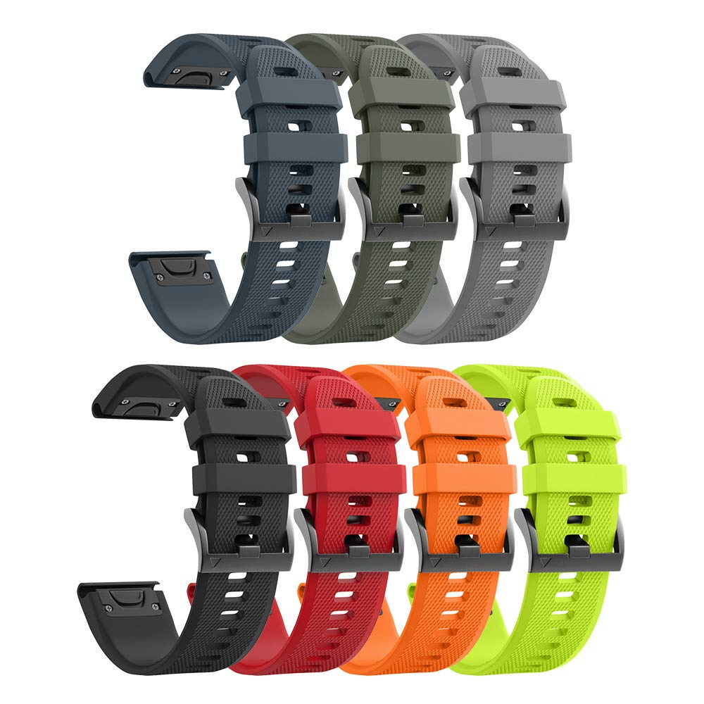 ANCOOL Compatible with Fenix 6 Bands Easy Fit Mechanism Silicone Watch Bands Replacement for Forerunner 935/Forerunner 945/Fenix 5/Fenix 5plus/Fenix 6/Fenix 6 Pro Smartwatches, 7-Pack by ANCOOL