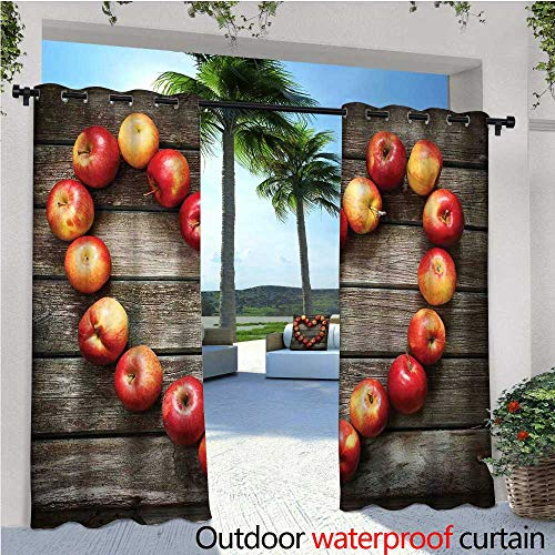 Modern Exterior/Outside Curtains Rustic Style Home Cafe Decor Wooden Kitchen Surface Fresh Apples Image Art Veggies Fruit for Patio Light Block Heat Out Water Proof Drape W72 x L84 Brown Red