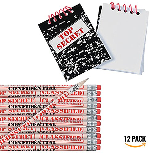 Bedwina 24 Pack Of Top Secret Notebook With Wooden Pencils A