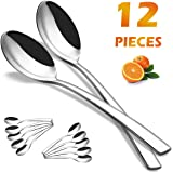 Dinner Spoons, Elegant Life 12-Piece Japan Large Stainless Steel Spoons Set Mirror Polished Modern Flatware Cutlery Spoons for Home, Kitchen or Restaurant, 8 inches